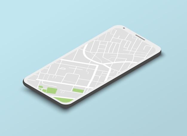 Modelo de navegação isométrica com mapa da cidade na tela do celular em azul claro