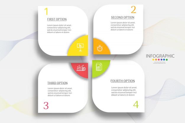 Modelo de negócio 4 etapas infográfico gráfico elemento.