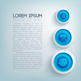 Modelo de negócio abstrato com ícones de texto, três círculos azuis em fundo claro