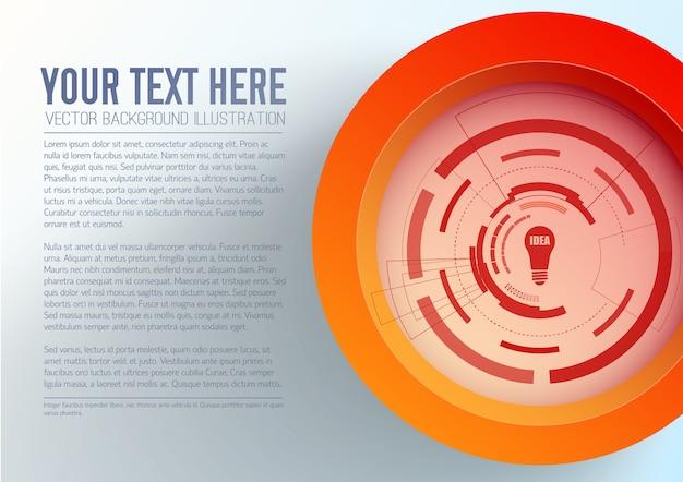 Modelo de negócio abstrato com interface futurista de ícone de lâmpada de círculo vermelho de texto