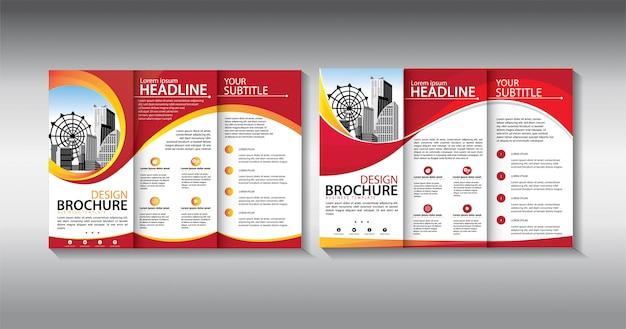 Modelo de negócio com três dobras folheto vermelho