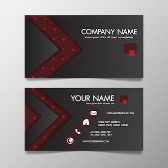 Modelo de negócio criativo moderno vermelho e preto estampado e cartão de visita, horizontal simples limpo