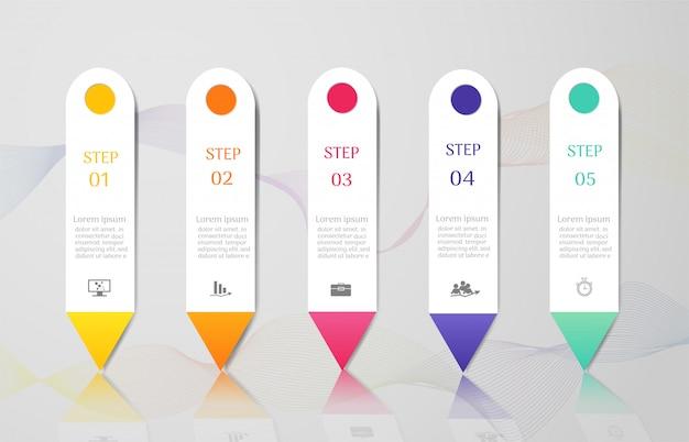 Modelo de negócio de design 5 opções infográfico elemento gráfico.