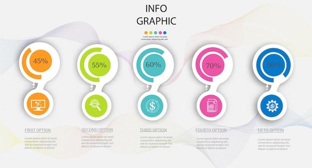 Modelo de negócio de design 5 passos infográfico gráfico elemento.