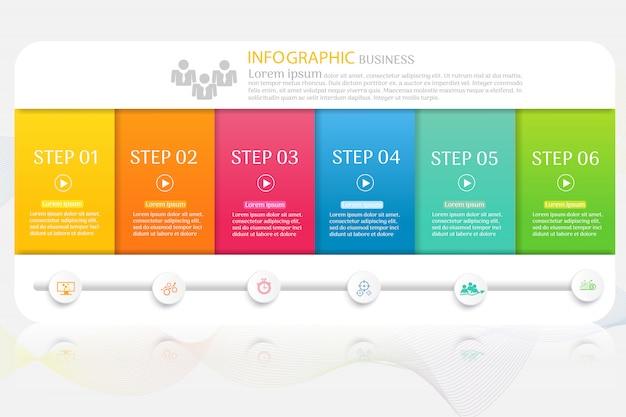Modelo de negócio de design 6 opções infográfico elemento gráfico.