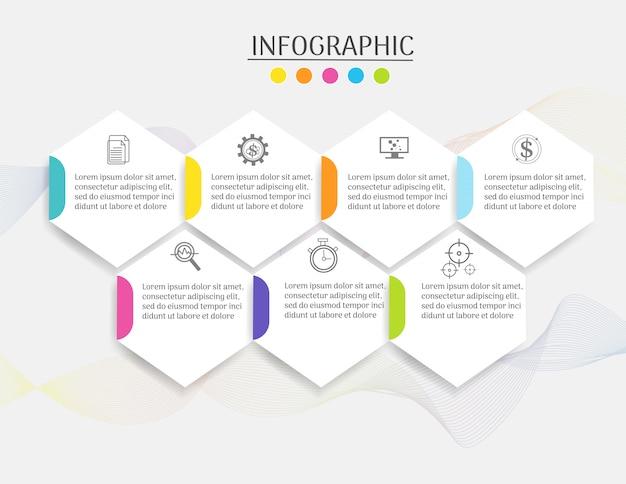 Modelo de negócio de design 7 passos infográfico elemento gráfico.
