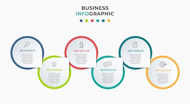 Modelo de negócio de design de infográfico de vetor com ícones e 6 opções ou etapas. pode ser usado para diagrama de processo, apresentações, layout de fluxo de trabalho, banner, fluxograma, gráfico de informações