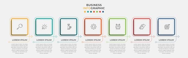 Modelo de negócio de design de infográfico de vetor com ícones e 7 opções ou etapas. pode ser usado para diagrama de processo, apresentações, layout de fluxo de trabalho, banner, fluxograma, gráfico de informações