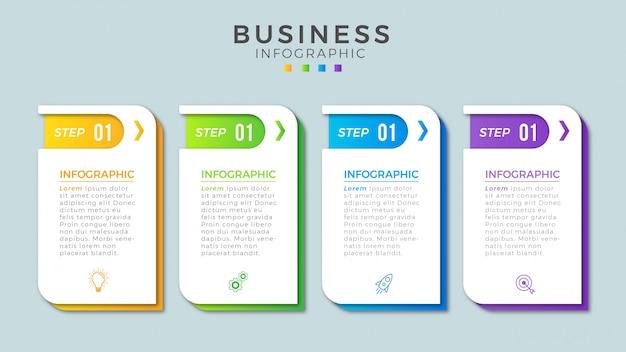 Modelo de negócio de etapas de infográfico