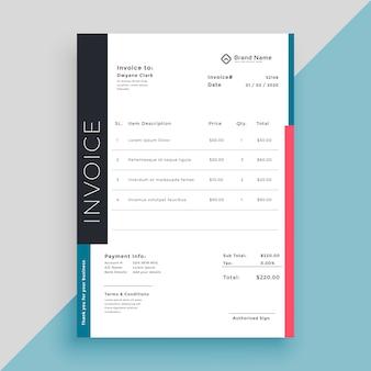 Modelo de negócio de fatura moderna limpa