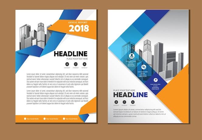 Modelo de negócio de folheto de capa de layout para empresa de relatório anual de fundo