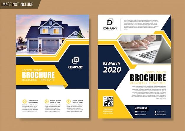 Modelo de negócio de folheto e brochura de capa para o relatório anual de design