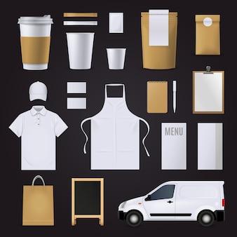 Modelo de negócio de identidade corporativa café em branco definido nas cores marrons e brancas
