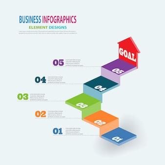 Modelo de negócio de infografia 3d escadas com passos de seta para apresentação, previsão de venda, web design, melhoria, passo a passo