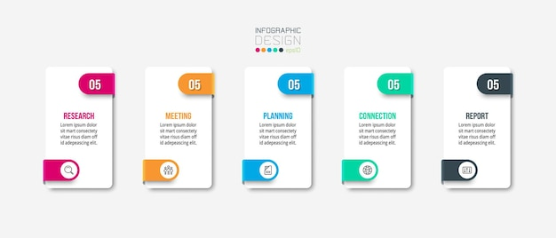 Modelo de negócio de infográfico com design de etapa ou opção.