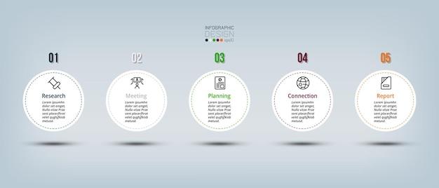 Modelo de negócio de infográfico com etapa ou opção.
