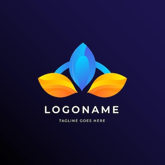 Modelo de negócio de logotipo de folhas geométricas