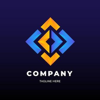 Modelo de negócio de logotipo em forma de diamante dourado e azul