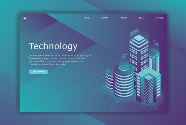 Modelo de negócio de página de destino de design isométrico