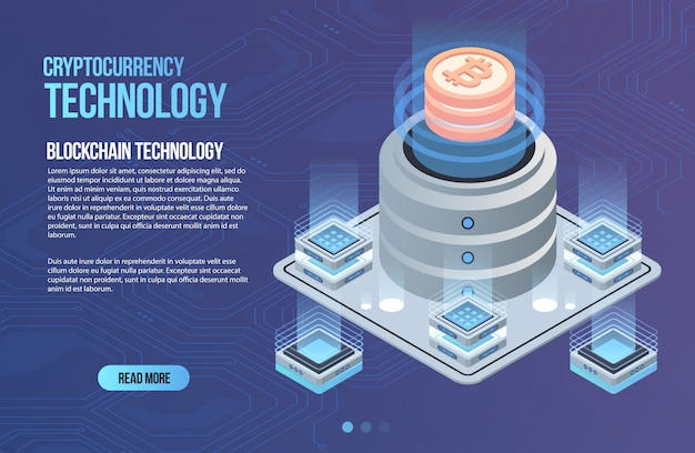Modelo de negócio de rede blockchain. composição isométrica de criptomoeda e blockchain. tecnologia abstrata de mineração. sistema monetário digital. layout para web e aplicativo.