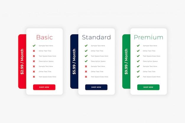 Modelo de negócio de tabela de preços de site limpo moderno