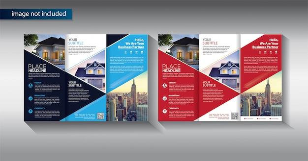 Modelo de negócio de três dobras brochura para marketing promocional
