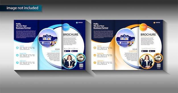 Modelo de negócio de três dobras brochura para promoção de marketing