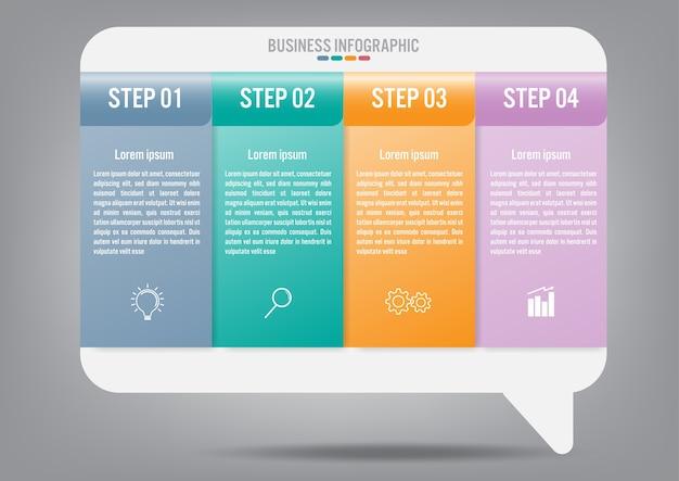 Modelo de negócio infográfico com 4 opções