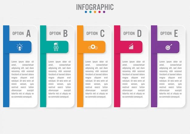 Modelo de negócio infográfico com cinco opções