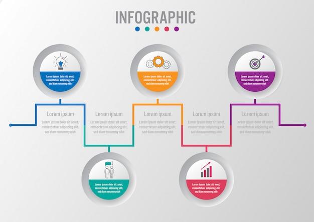Modelo de negócio infográfico com forma circular
