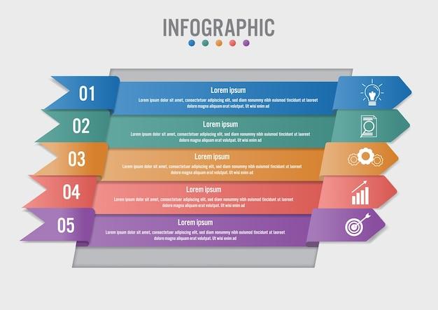 Modelo de negócio infográfico com forma de 5 flechas