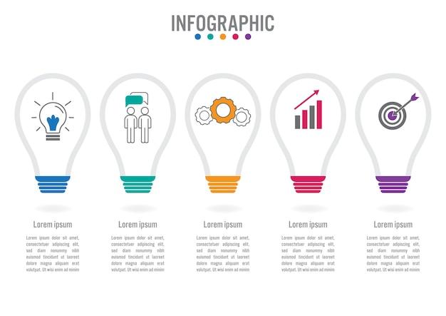Modelo de negócio infográfico com forma de bulbo