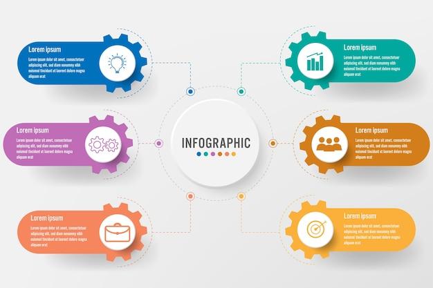 Modelo de negócio infográfico com forma de engrenagem de 6 opções