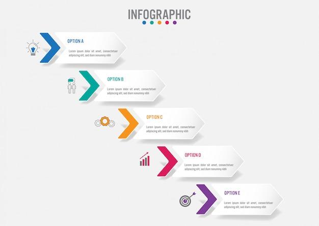 Modelo de negócio infográfico com forma de setas