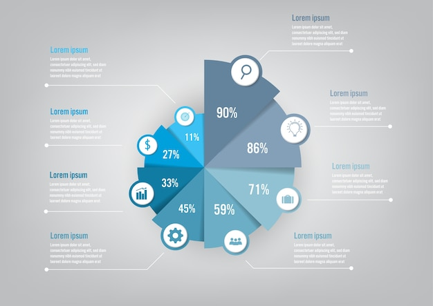 Modelo de negócio infográfico com gráfico de pizza 8 opções