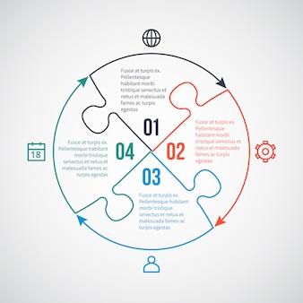 Modelo de negócio infográfico com ícones de linha, elementos de quebra-cabeça para 4 opções, peças, passos