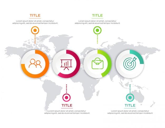 Modelo de negócio infográfico com mapa