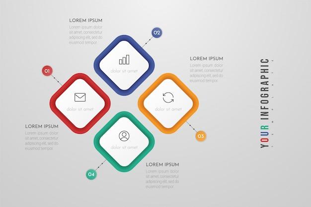 Modelo de negócio infográfico com quatro etapas ou elementos de processos.