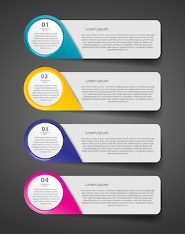 Modelo de negócio infográfico com quatro etapas