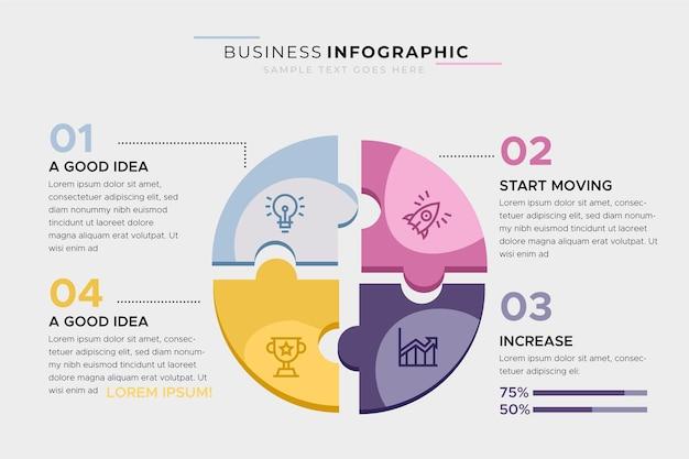Modelo de negócio infográfico com quebra-cabeça