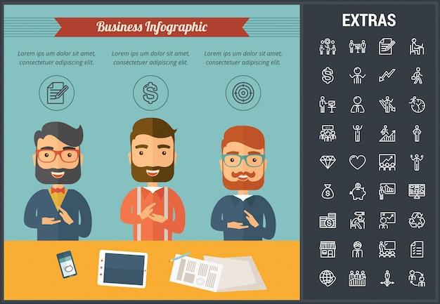 Modelo de negócio infográfico e elementos.