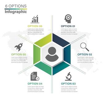 Modelo de negócio infográfico hexágono com 6 passos.