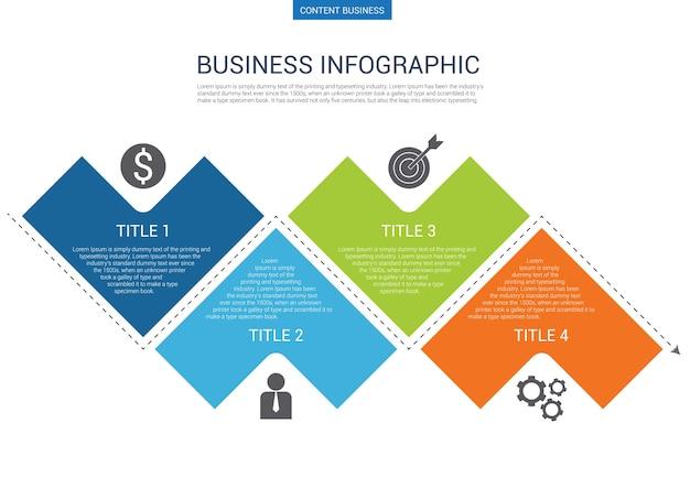 Modelo de negócio infograhpic com diagrama de flecha