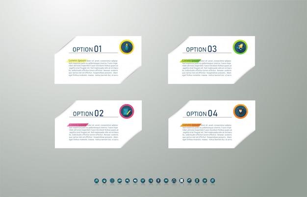 Modelo de negócios 4 opções ou etapas infográfico elemento gráfico.