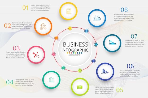 Modelo de negócios 8 opções ou etapas infográfico elemento gráfico.
