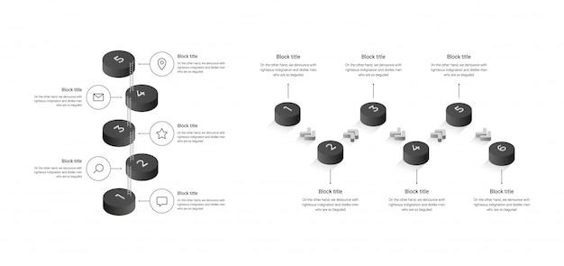 Modelo de negócios com etapas de cilindros, opções. infográfico isométrico.