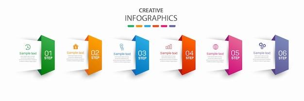 Modelo de negócios de design de infográfico com 6 etapas