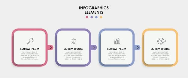 Modelo de negócios de design de infográfico de vetor com ícones e 4 opções ou etapas