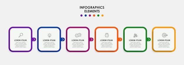 Modelo de negócios de design de infográfico de vetor com ícones e 6 opções ou etapas