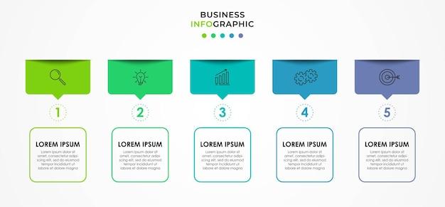 Modelo de negócios de design infográfico com ícones e 5 cinco opções ou etapas